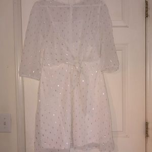 Women's White and Silver Dress Size 10